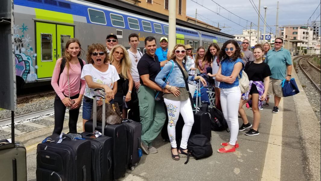 Cruise group at the Rome port train station